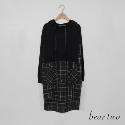 bear two- 連帽拼接格紋針織衫 - 黑