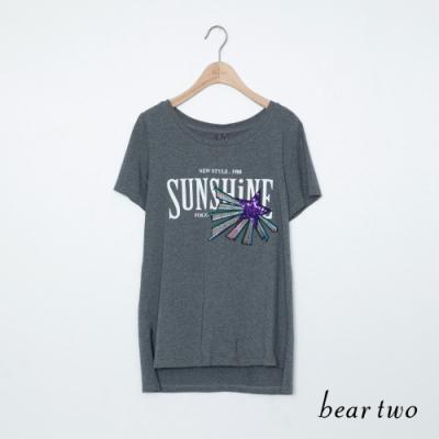 beartwo-英文標語塗鴉上衣-灰
