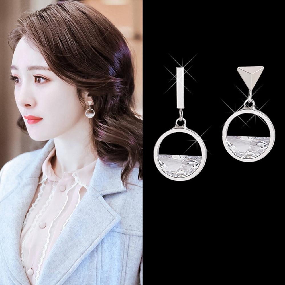 梨花HaNA 無耳洞韓國水晶菱鏡簡約圓型耳環 夾式