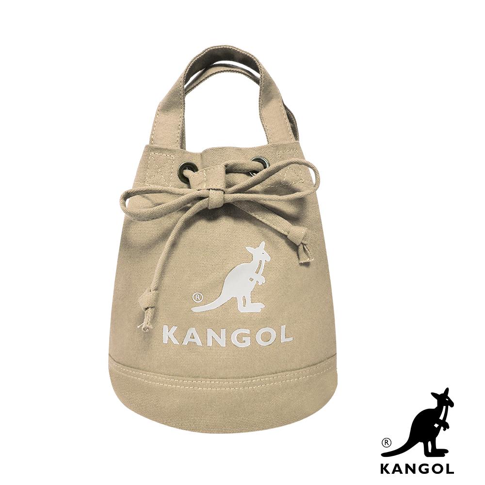 福利品 KANGOL 韓版玩色系列-帆布斜背水桶包-卡其