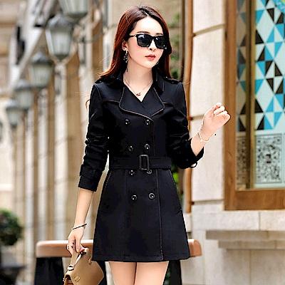【KISSDIAMOND】韓系女神修身顯瘦中長版風衣外套