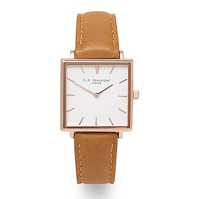 Elie Beaumont 英國時尚手錶 BAYSWATER白x玫瑰金方框 焦糖色28mm
