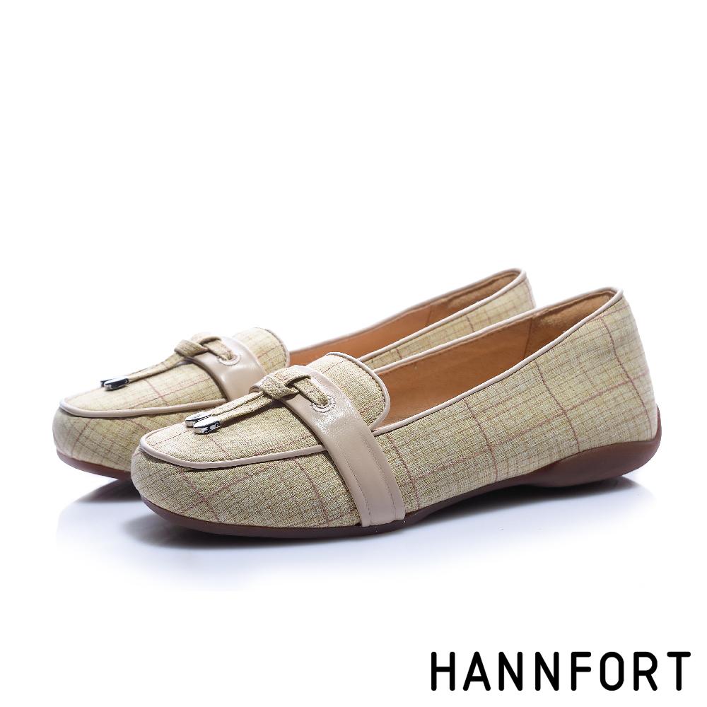 HANNFORT RIPPLE經典格紋氣墊樂福鞋-女-質感卡其