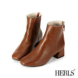 HERLS 自信簡約 後拉鍊素面粗跟短靴-棕色