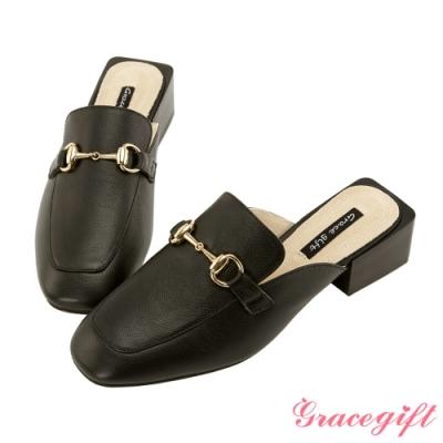 Grace gift-全真皮金屬馬蹄鏈穆勒鞋 黑