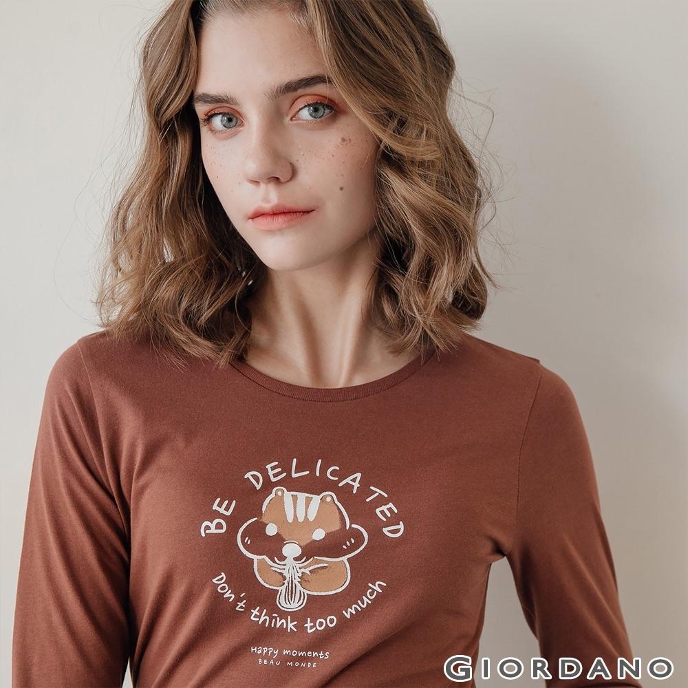 GIORDANO  女裝HAPPY MOMENTS印花長袖T恤- 51 咖啡棕