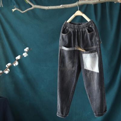 水洗做舊鬆緊腰牛仔褲貼布哈倫褲子-設計所在