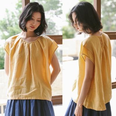 T恤-砂洗亞麻小飛袖上衣短袖寬鬆文藝-設計所在