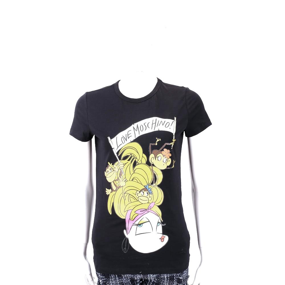 LOVE MOSCHINO 猴子女孩圖案黑色棉質短T恤