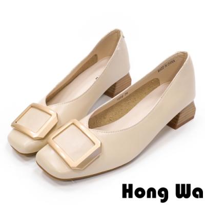 Hong Wa 氣質名媛‧牛皮方釦粗低跟包鞋 - 米