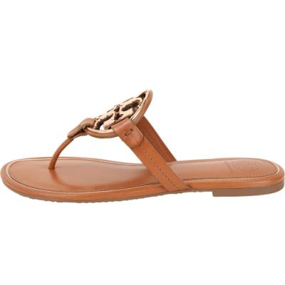 TORY BURCH Miller 品牌雙T盾牌夾腳涼鞋(棕色)