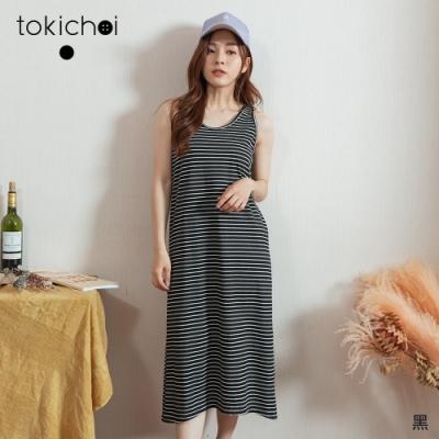 東京著衣 MIT休閒舒適橫條紋高彈背心長洋裝