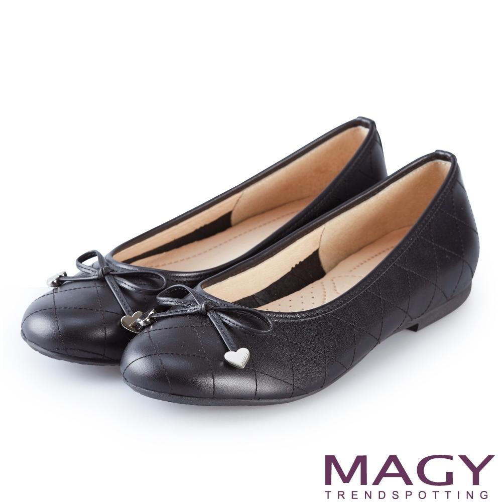 MAGY 菱格紋縫線真皮 女 平底鞋 黑色