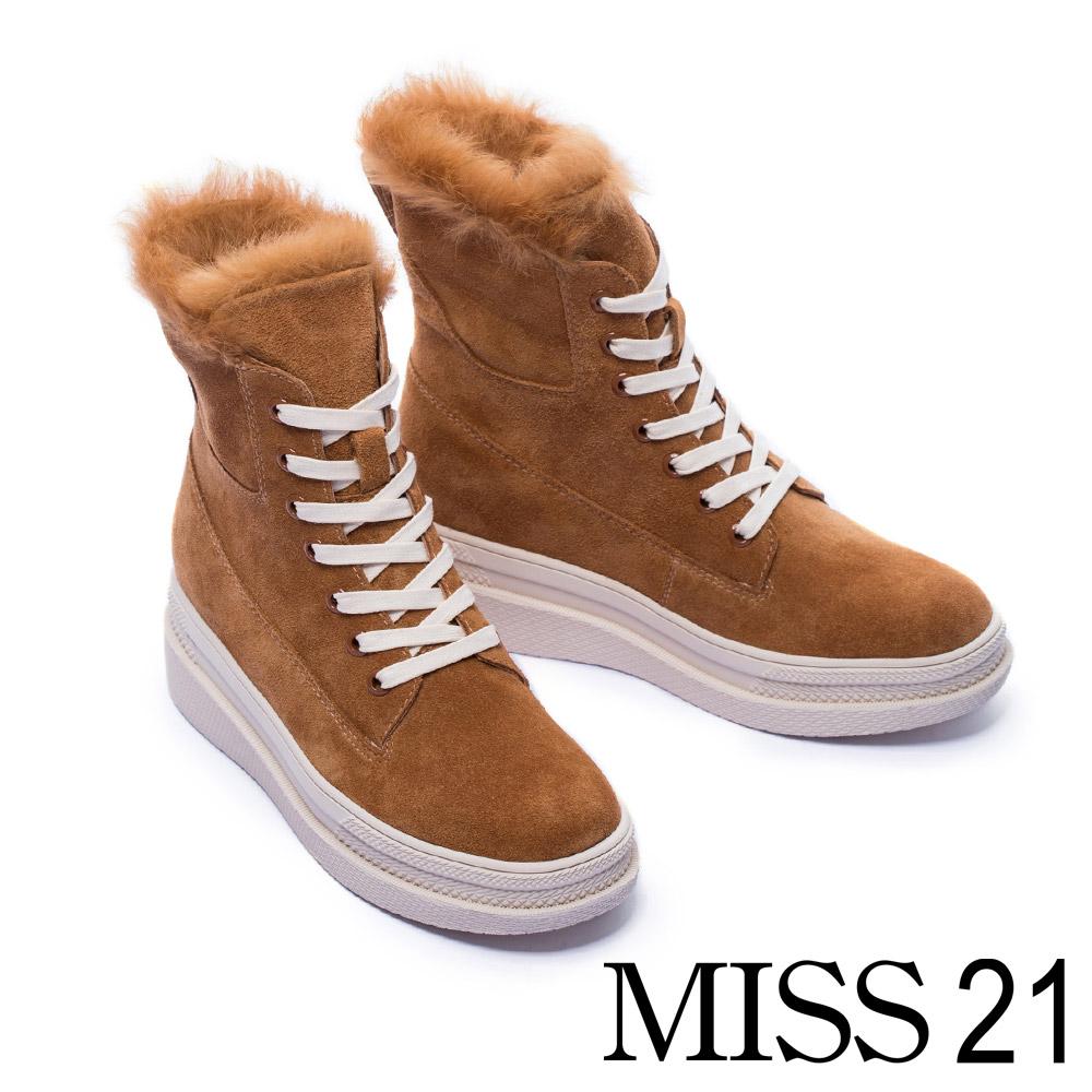中筒靴 MISS 21 暖暖兔毛造型麂皮厚底中筒靴-咖
