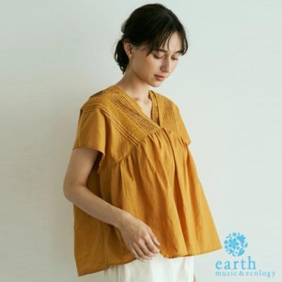 earth music 【SET ITEM】棉質蕾絲V領壓摺上衣+蕾絲背心