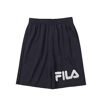 FILA KIDS 兒童吸濕排汗五分褲-黑1SHS-4907-BK
