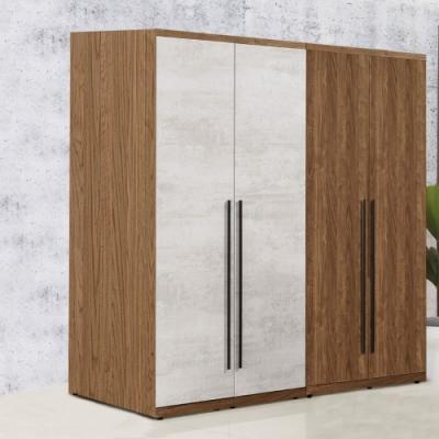 D&T 德泰傢俱 DINO清水模風格5.3尺單吊+雙吊衣櫃-160x57x202cm