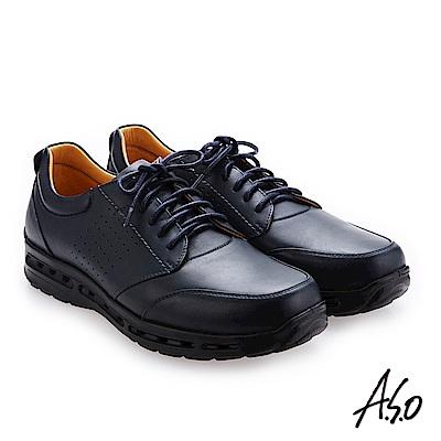 A.S.O霸足氣墊 綁帶奈米牛皮紳士鞋 深藍