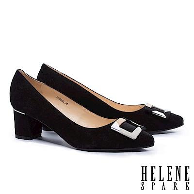 高跟鞋 HELENE SPARK 都市優雅多彩方釦全真皮尖頭高跟鞋-黑