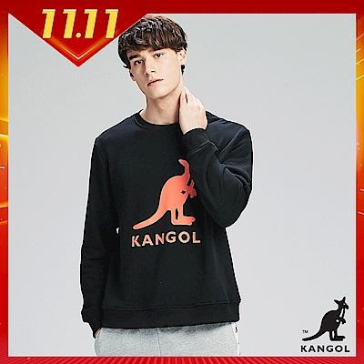 【KANGOL】大LOGO設計圓領上衣/大學T-男-黑