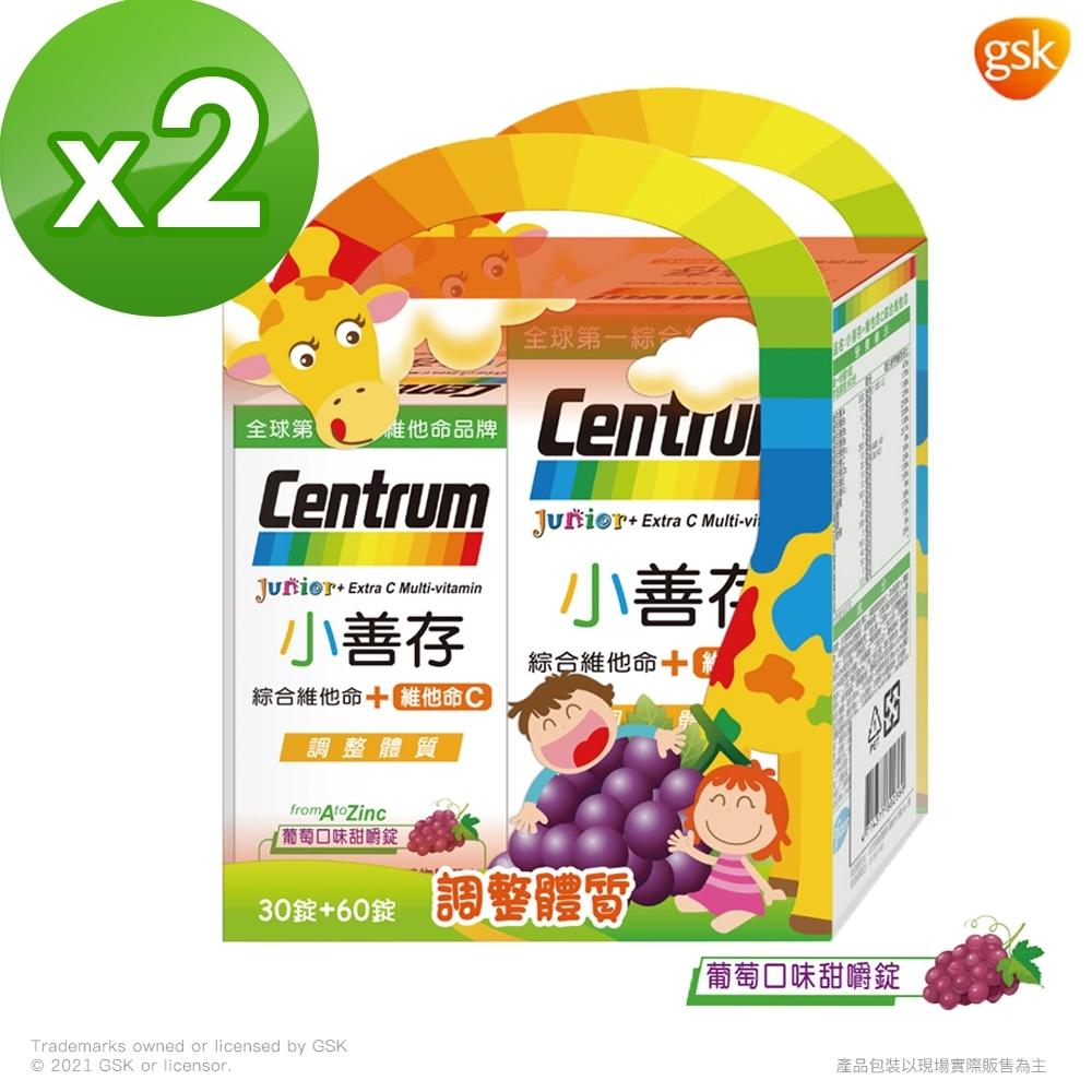 【小善存】綜合維他命+C 葡萄口味甜嚼錠禮盒 (90錠X2盒)