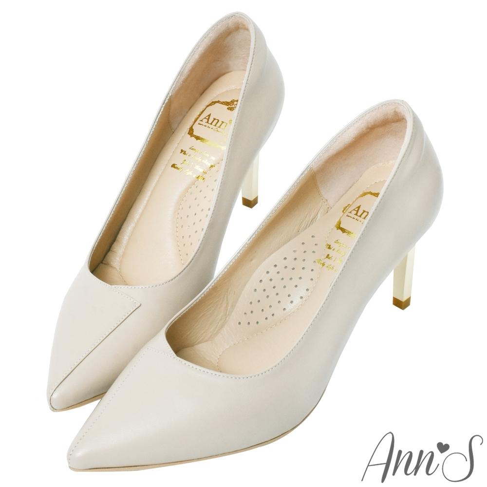 Ann'S嚮往的女人味-層次拼接柔軟小羊皮電鍍細跟尖頭高跟鞋-米白