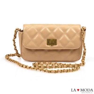 La Moda 人氣小香風菱格紋旋釦肩背斜背鍊條包(杏)