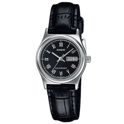 CASIO 簡約日期星期顯示指針皮帶腕錶-黑(LTP-V006L-1B)/25mm