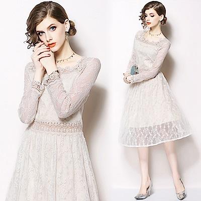 浪漫白雕花鏤空蕾絲連身裙M-2XL-M2M