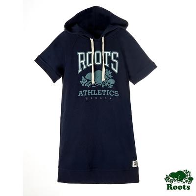 ROOTS女裝-RBA 連帽洋裝-藍色