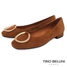 Tino Bellini 優雅環飾麂皮小方頭微跟娃娃鞋 _ 棕
