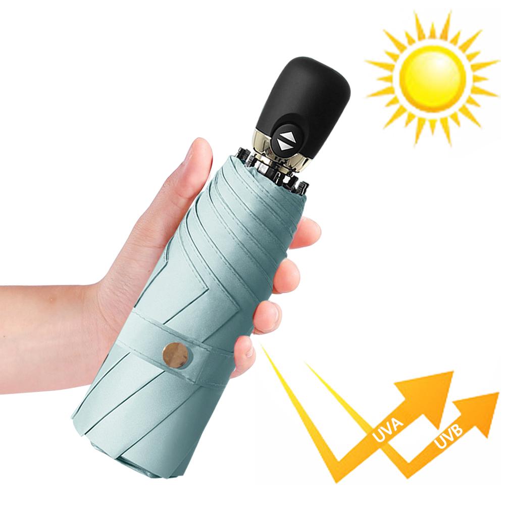 幸福揚邑  鈦防曬抗UV降溫UPF50+全自動8骨晴雨口袋迷你五折疊傘-晨藍
