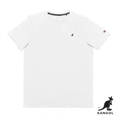 【KANGOL】小LOGO圓領短袖T恤-男-白