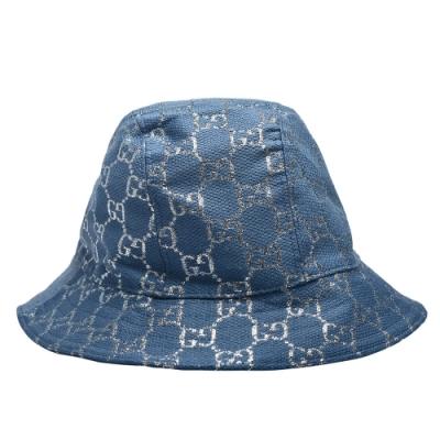 GUCCI 經典GG lame帆布銀色GG LOGO漁夫帽(牛仔藍)