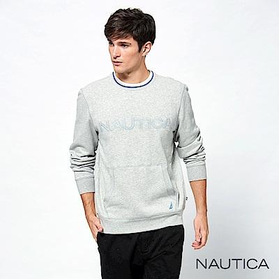 Nautica經典款品牌休閒口袋長袖TEE-淺灰
