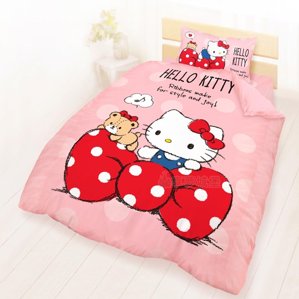 享夢城堡 精梳棉單人床包雙人兩用被套三件組-HELLO KITTY 點點蝴蝶結-粉