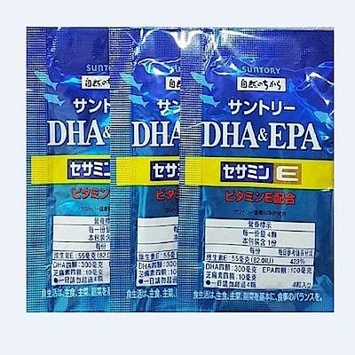 SUNTORY三得利 魚油 DHA&EPA 芝麻明E(30日份)-隨身包組合