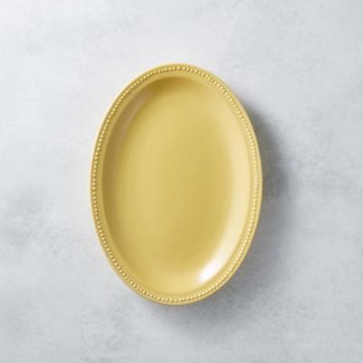 日本原裝美濃燒 - 珍珠邊橢圓淺盤 - 赭黃 24cm