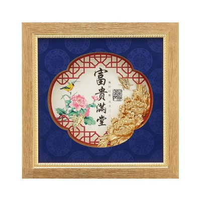 My Gifts 立體金箔畫-富貴滿堂-開窗(鴻喜系列23.8x23.8cm)