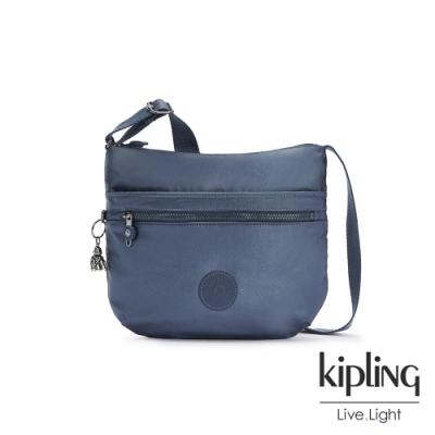 Kipling 個性霧灰藍前拉鍊側背包-ARTO