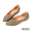 HERLS 極簡美學 全真皮側斜口尖頭平底鞋-橄欖綠