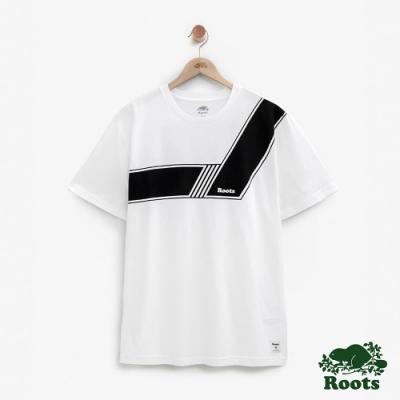 ROOTS男裝  原創貼花短袖T恤-白