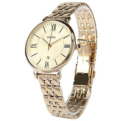 FOSSIL Jacqueline 羅馬時標香檳金女仕腕錶-(ES3434)-36mm