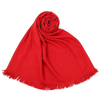 HERMES 經典家徽羊絨混絲圍巾(紅色)