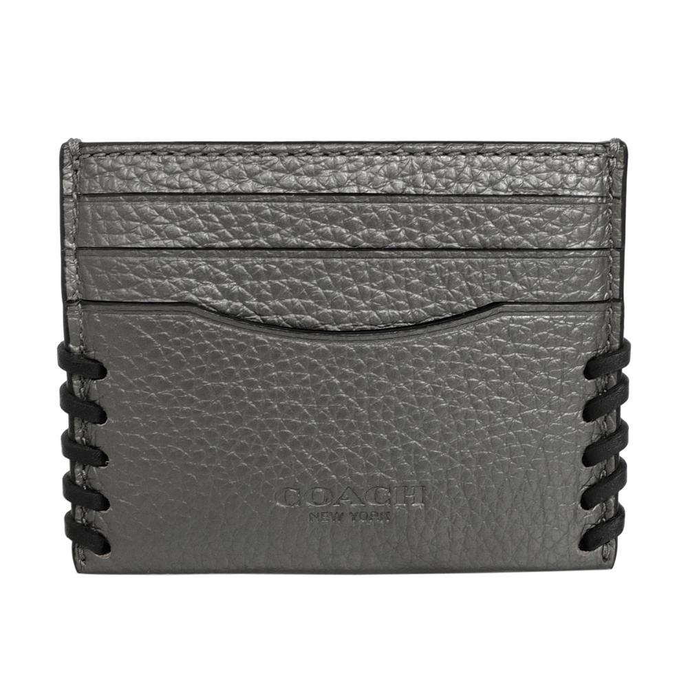 COACH燙銀編織荔枝紋全皮一片式雙面票卡夾