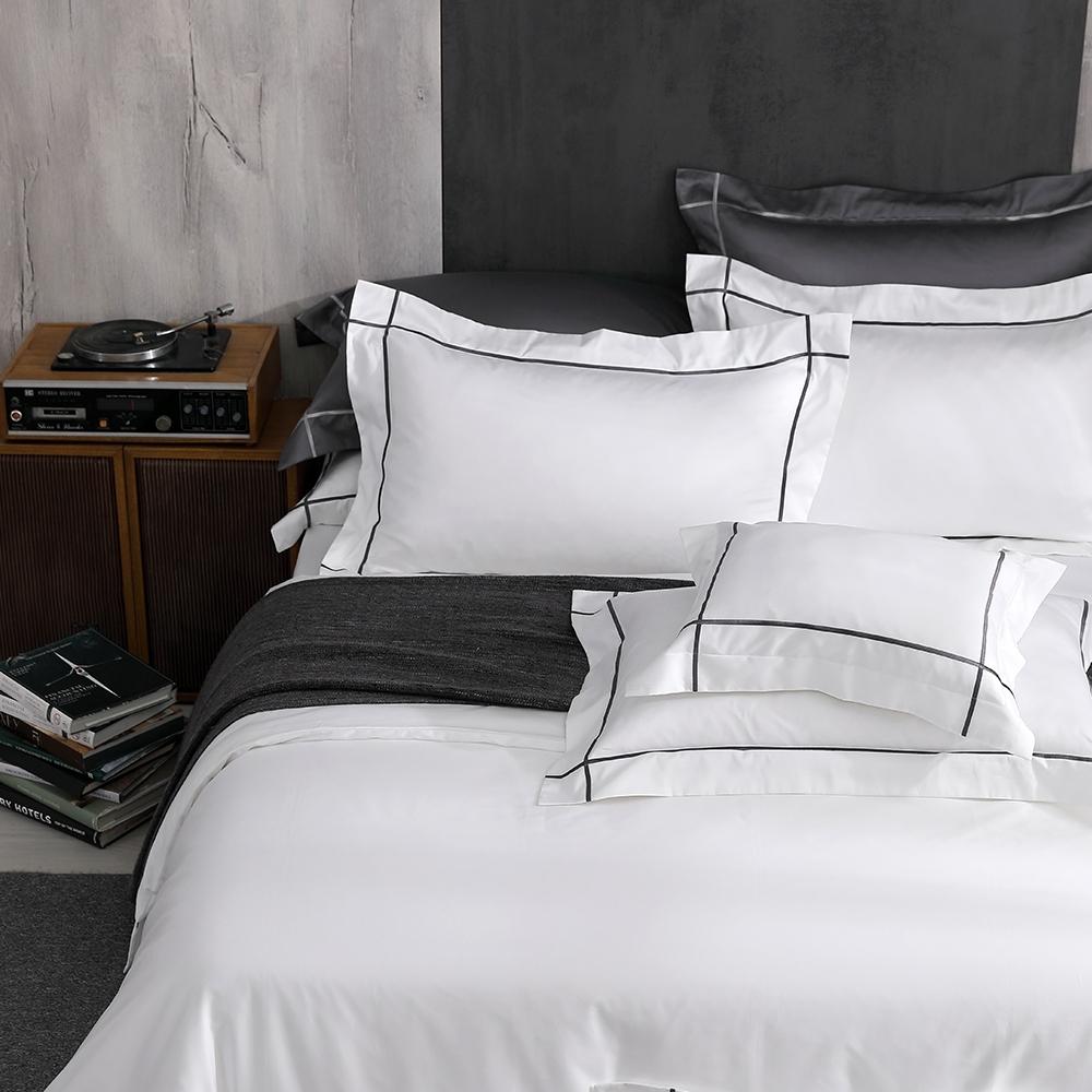 OLIVIA Hamilton 白 標準雙人床包枕套三件組 500織高織紗匹馬棉 台灣製