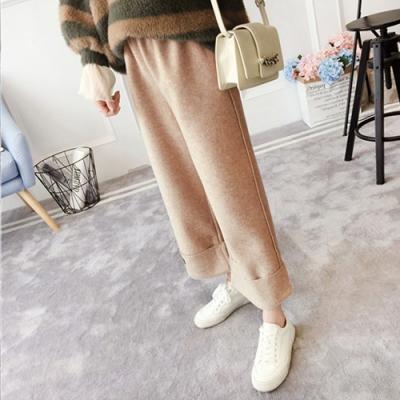 【韓國K.W.】(現貨)韓新品街頭休閒毛呢寬褲-2色