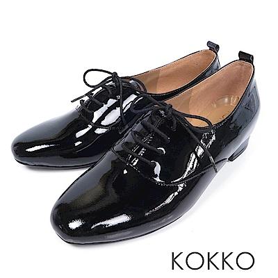 KOKKO -日不落思念方頭真皮綁帶牛津鞋-經典黑