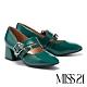 高跟鞋 MISS 21 精緻懷舊雙帶設計真皮方頭瑪莉珍粗跟鞋-綠 product thumbnail 1