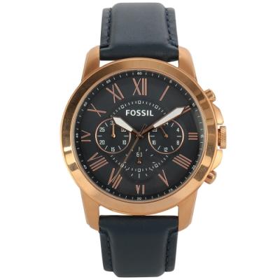 FOSSIL Grant復古羅馬時標玫瑰金框三眼計時海軍藍皮革腕錶(FS4835IE)
